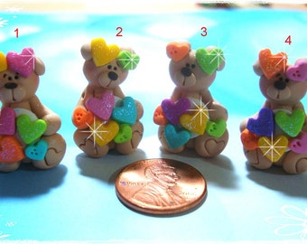 Bear wt Sparkly Heart Polymer Clay Charm Bead, Scrapbooking, Bow Center, Pendant, Cupcake topper, Magnet, Ring