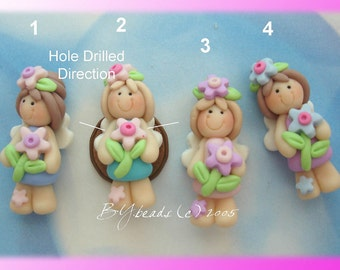 Flower Fairy Polymer Clay Charm Bead, Scrapbooking, Bow Center, Pendant, Cupcake topper, Magnet, Ring