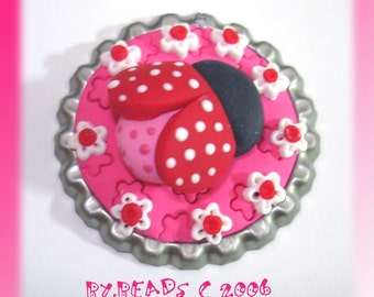 Ladybug Polymer Clay Bottle Cap Bead, Scrapbooking, Bow Center, Pendant, Cupcake topper, Magnet