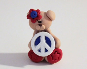 Patriotic Bear Polymer Clay Charm Bead Scrapbooking Embelishment Bow Center Pendant