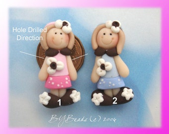 Dress up Girl  Polymer Clay Charm Bead, Scrapbooking, Bow Center, Pendant, Cupcake topper, Magnet, Ring