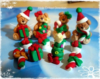 Christmas Bear Polymer Clay Scapbooking Charm, Pendant, Bow Center, Bead