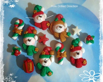 Christmas Polar Bear Polymer Clay Scapbooking Charm, Pendant, Bow Center, Bead