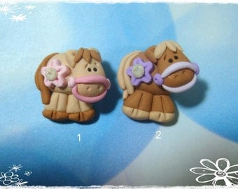 Brown Pony Polymer Clay Charm Bead, Scrapbooking, Bow Center, Pendant, Cupcake topper, Magnet