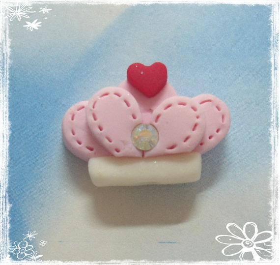 Crown Polymer Clay Charm Bead, Scrapbooking, Bow Center, Pendant, Cupcake topper, Magnet, Ring