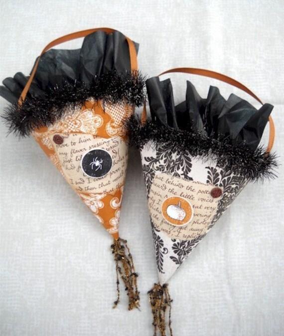 OOAK Halloween Vintage Victorian Cones treat candy cones folk art primitive party favors MHA