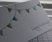 Bunting Enclosure Card Set - Peacock & Chartreuse