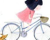 Dachshund and Girl on bike A4  Print 2
