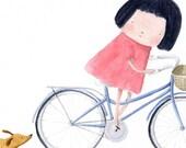 Dachshund and Girl on bike A4  Print