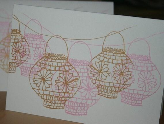 Lanterns in pink and gold (original gocco print)