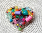 Rainbow Heart Brooch - Knitted Wire Beaded Colorful Broach