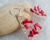 Tear Drop Beaded Red Coral Dangle Earrings - Knitted Wire Jewelry - Gemstone