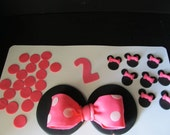 Minnie Mouse inspired Fondant Cake Toppers -  Complete Set Cake Decorations - (2 tier cake)