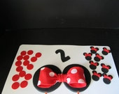 Minnie Mouse Inspired Fondant Cake Toppers  Complete Set Cake Decorations - (1 tier cake)