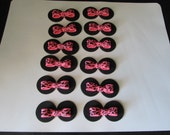 Zebra Minnie Mouse Inspired Fondant Cupcake Toppers