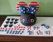 Fondant Patriotic Minnie Mouse Inspired Dome Head, Ears & Bow Cake Topper Set