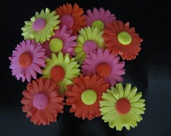 fondant gerbera daisies cake/cupcake toppers