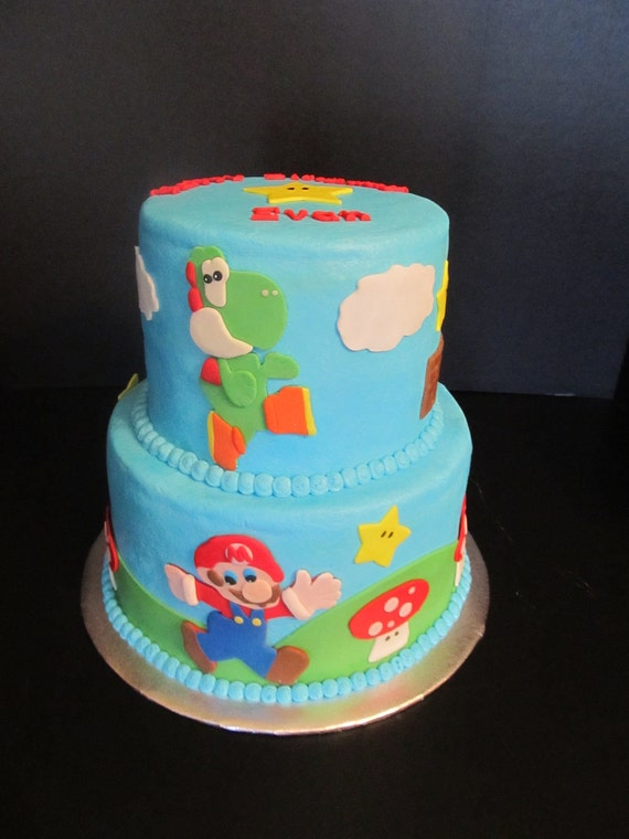 Etsy Cake Decorations : Edible Fondant Super Mario Bros Inspired Cake by 1STOPPARTY