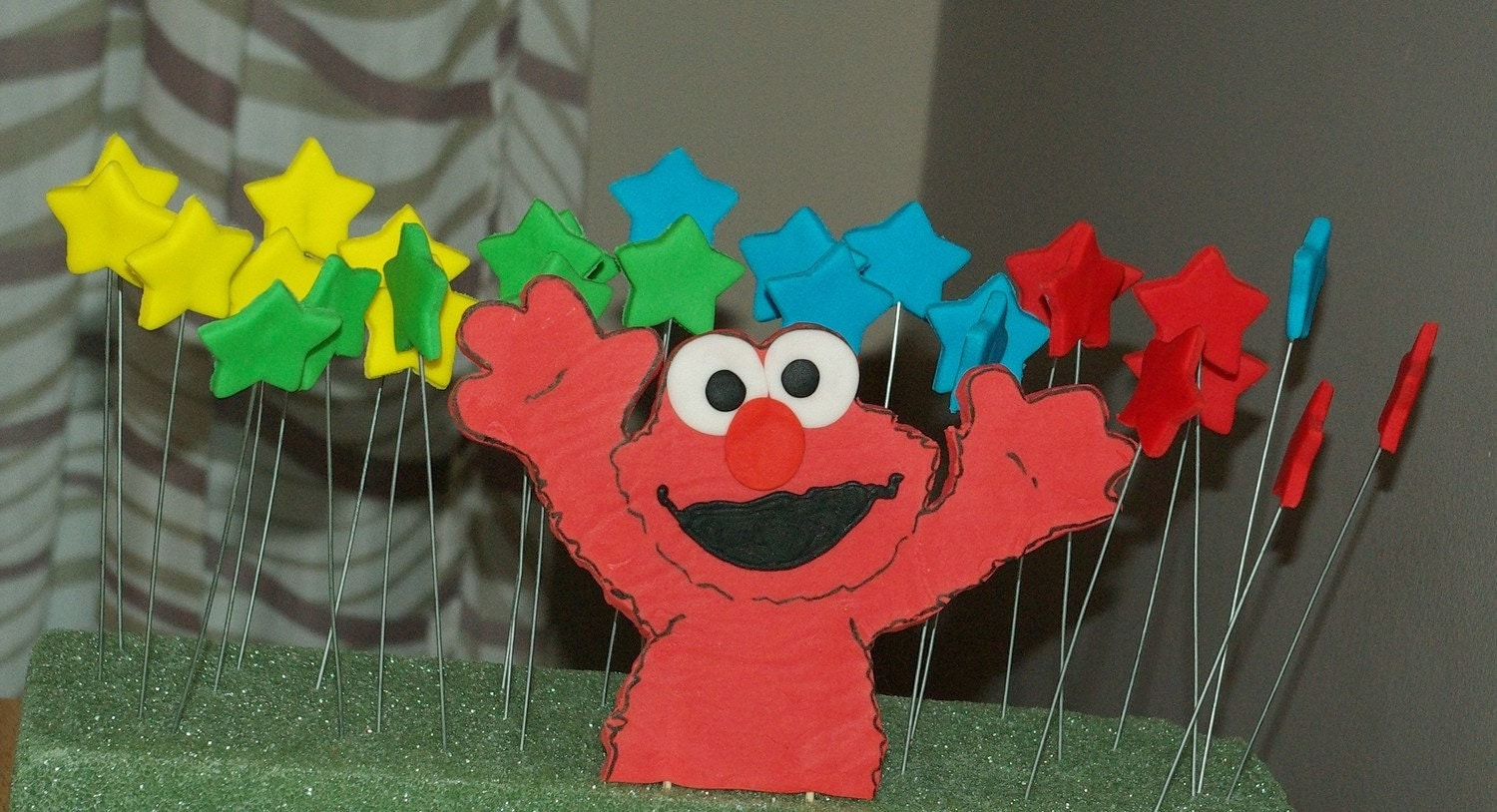 Elmo Cake Toppers Decorations : Elmo Inspired Fondant Cake Toppers Complete Set by 1STOPPARTY