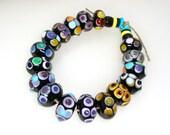 Handmade Lampwork Glass Beads Black White Red Orange Yellow Green Blue Violet Purple Turquoise Aqua Dots Artisan Set SRA -- Found Again