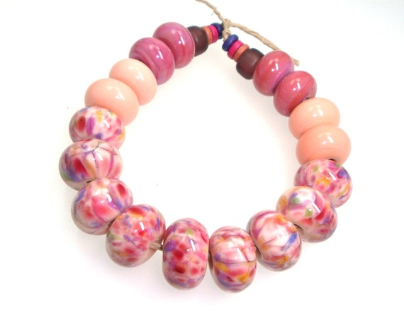 Handmade Lampwork Bead Set Pink Peach Apricot Raspberry Cherry Purple Rose Lilac Lavender Gold Green -- To the Fair