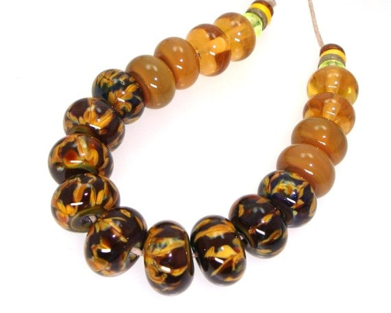 Handmade Lampwork Bead Set Silver Glass Caramel Brown Olive Amber Gold Topaz Honey -- Blown there by a Moonbeam