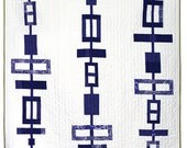 Listing for Bayley Smith- Graphic Modern Quilt - Blue Totem