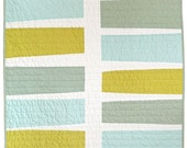 Modern Graphic Baby Quilt - Keyboard (Blue+Green)