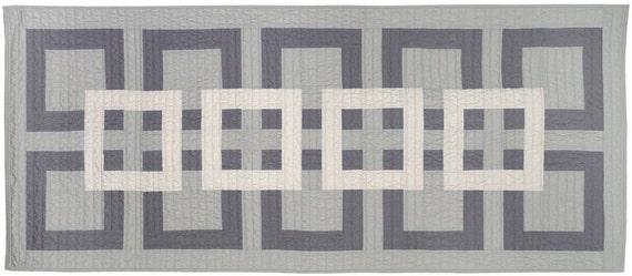 Geometric modern bedding - Gray Bed Runner