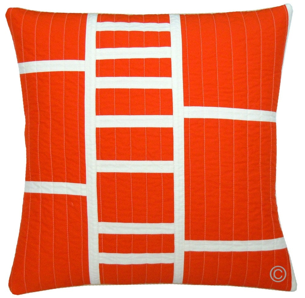 Sofa Pillows Contemporary: Modern Throw Pillow Tangerine Ladder