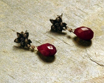 Ruby Quartz Earrings,  Briolette Earrings, Fashion Earrings, Dangle Earrings