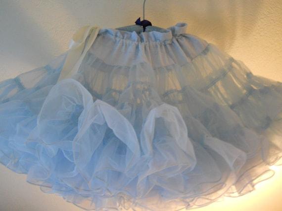 vintage fairy tale princess-blue super-poof petticoat square dance crinoline by partners please adjustable size