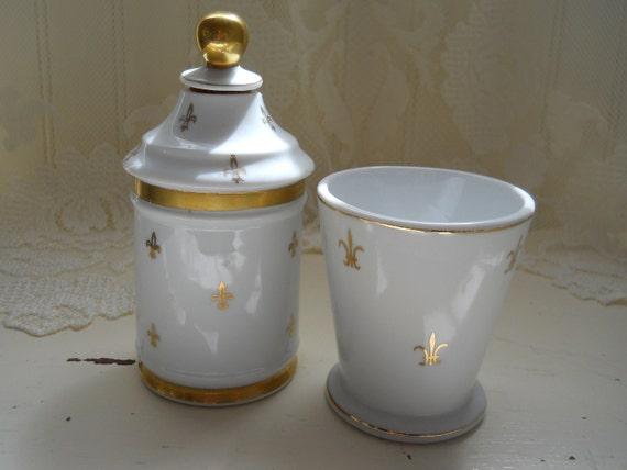 vintage white and gold fleur de lis porcelain apothecary jar or perfume bottle and vanity tumbler