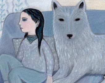 Art Print, Blue Wolf