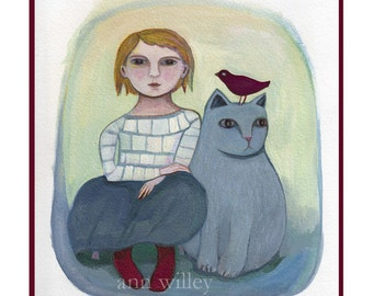 Greeting Card, Cat , children's art, friendship, child