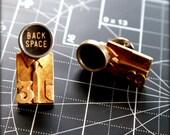 Personalized - Vintage Typewriter Key Tie Tack - Men's Jewelry - Back Space