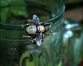 Large Bee Ring - Antiqued Brass - Iridescent Glitter Wings - Filigree & Text