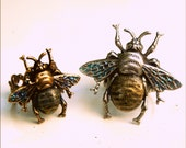 Two Bee Rings - His n Hers - Iridescent Glitter Wings - Filigree & Text