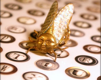 Large Cicada Ring - Mad Smiley Face - Iridescent Wings & Text