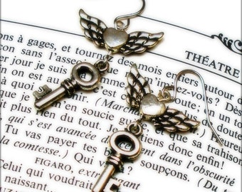 Winged Heart Earrings - The Keys To My (Winged) Heart - Earrings For The Romantically Inclined