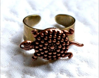 Secret Locket Ring - Tiny Turtle Tortoise