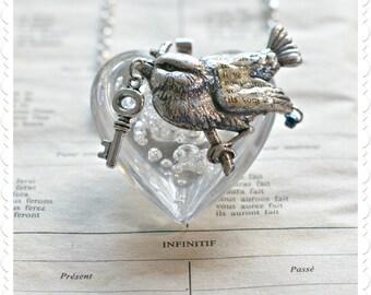 Silver Bird Pendant - Air Bubbles Heart with Tiny Key