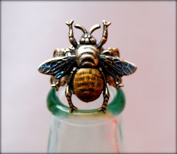 Silver Bee Ring - Blue Wings - Handpainted & Collaged - Insect Jewelry