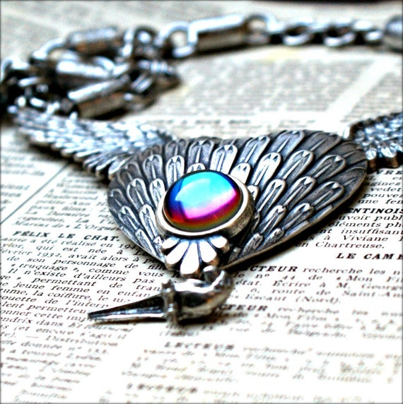 Winged Heart Sterling Silver Necklace - Vintage Bermuda Blue Glass - Parrot