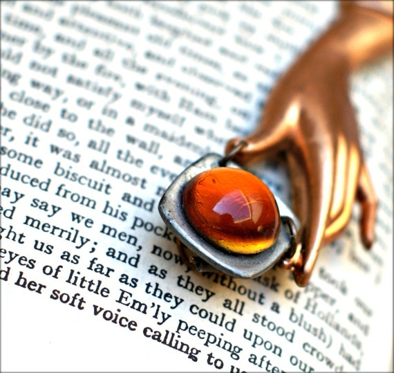 Tangerine Amber Victorian Hand Pendant - Copper Hand Necklace