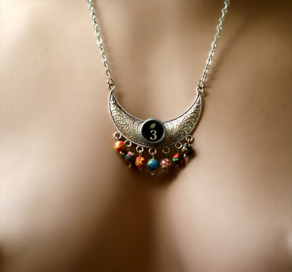 Vintage Typewriter Key Necklace with Multicoloured Polymer Clay Beads