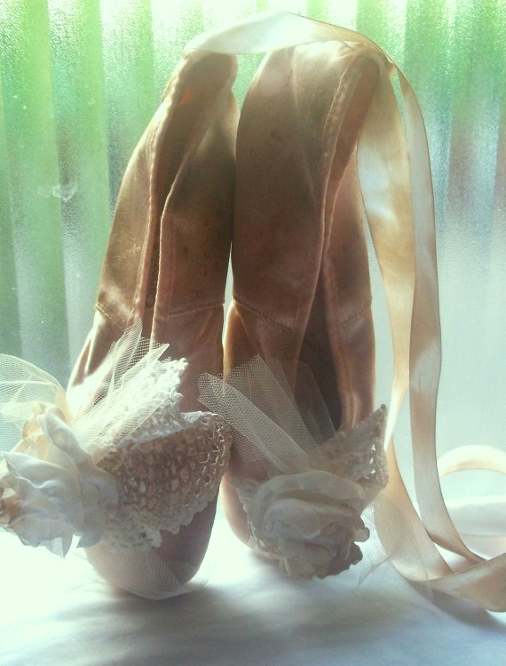 altered shabby chic French apartment ballet toe shoes