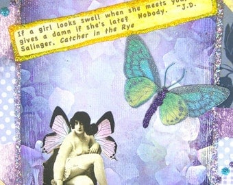 Handmade Altered Art Greeting Card, Mixed Media, Size 5x7, If a Girl Looks Swell, Blank Inside
