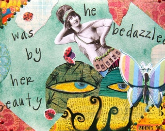 Handmade Altered Art Greeting Card, size 5x7, He was Bedazzled by her Beauty, Blank Inside
