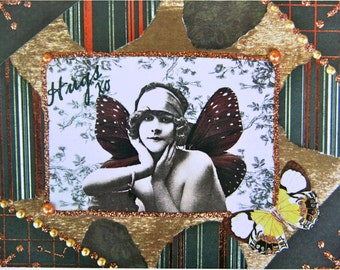 Altered Art Greeting Card, HUGS, Size 5x7, Blank Inside, Card Print
